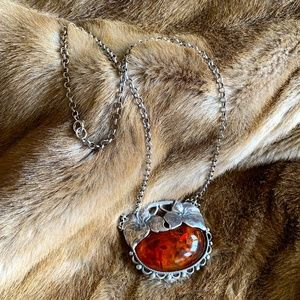 Russian Amber and Sterling Silver Necklace
